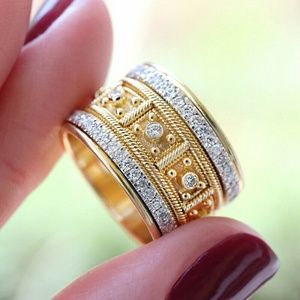 Gold 18k with White Sapphires Eternity Ring- WOW!